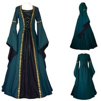 Wholesale Xxl Evening Gowns - Woman's Renaissance Victorian Medieval Gothic Long Dresses For Halloween Ball Gowns Costumes Gothic Evening Dresses