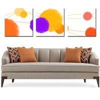 Wholesale original digital art online - 3 Pieces Original Abstract geometric patterns drawing modern geometry yellow grey red art wall in Home decoration painting