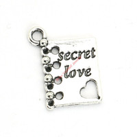 Wholesale Antiques Books - 20pcs Antique Silver Plated Secret Love Book Charms Pendants for Bracelet Jewelry Making DIY Necklace Craft 15X12mm