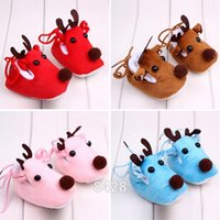 Wholesale cute sweet shoes online - Baby Boy Shoes Cute Warm Winter Baby Christmas Deer Shoes Sweet Antiskid Toddlers Shoes Infant Prewalker Toddler