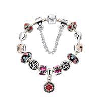 Wholesale Antique Glass Beads Wholesale - 5 Colors Fashion Antique Silver Daisies Murano Glass&Crystal European Charm Bracelet DIY Flower Beads Charm bracelets Style