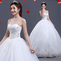 Wholesale Ball Gown Romantic - Beaded Tulle Ball Gown Sweetheart Wedding Dress Lace Up 2017 Romantic Sequined Bridal Gowns Fast Shipping