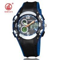 mavi lcd çalar saat toptan satış-OHSEN marka dijital kuvars LCD çocuk erkek kol saati 30 M su geçirmez lastik bant alarm tarihi moda mavi saatler el saatler