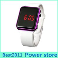 Wholesale Electroplated Battery - Square Led Digital Electronic LED Watch Red Light For Women Men Sports LED Square Mirror Face Alloy electroplate Shell Bracelet Watch
