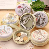 Wholesale England Souvenir - Cute Coin Earring Jewelry Earphone Cable Girl Purse Container Storage Bag Wallets for Earbuds Change Souvenir Paris Eiffel Tower France Gift