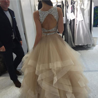 Wholesale sheer top prom dress - Champagne Ball Gown Prom Dresses Sparkly Sequins Beaded Top Tulle Tiered Skirt Keyhole Back Plus Size Backless Evening Dresses