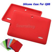 Wholesale cheapest inches tablet online - 100pcs Cheapest Multi color Soft Silicone Silcion Case Protective Back Cover For Inch Q88 Q8 Tablet PC Cases Free DHL Shipping