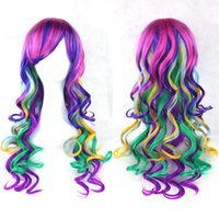 Wholesale Multi Colored Long Wigs - Fashion Cosplay Wigs Lolita Rainbow Curly Wigs Multi-colored Party Hair Women Wig