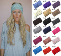 Wholesale Heart Knit Headband - Fashion Crochet Headband 31 Colors Wool Crochet Headband Knit Hair band Winter Warm headbands Girls Headwrap Hair Accessories DHL Free D492