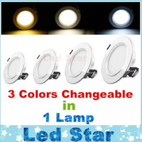 Wholesale Acryl Colors - (3 Colors in 1 Lamp) Changeable Led Ceiling Down Lights 3W 5W 7W 9W 12W Led Downlights Recessed Lamps AC 110-240V