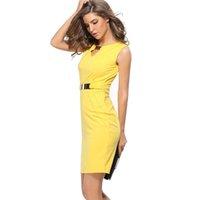 ingrosso abiti da lavoro gialli-2017 estate vestito da donna casuale Solid Sexcy Party Pencile cotone Prom Yellow Red Blue Club Dress Sashes più abiti da lavoro partito