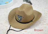 Wholesale Rodeo Cowboy - New Western Rodeo Cowboy Brown Straw Hat Studded Leather Bull Band Unisex Sun Beach Hat For Men Women 6pcs lot Free shipping