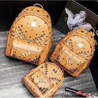 Wholesale Leather Computer Backpack For Women - New Arrival Fashion School Bags Hot Punk style Men Women Backpack Rivet Crown Student Backpack PVC Leather Lady Bags size for 40*35*15cm