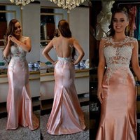 Wholesale sexy club wear tops - 2018 Glamorous Mermaid Sleeveless Evening Gowns with Appliques Beadings Long Backless Trumpet Sheer Top Prom Dress