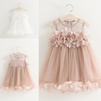 Wholesale Cheap Handmade Clothes - Real Image 2017 Cheap Beauty Flower Girls Dresses White Champagne Tulle Handmade Flowers Jewel Neck Toddler Baby Kids Clothing FG01