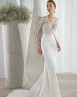 Wholesale Delicate Mermaid V Neck - New Arrive Popular Ivory White Lace Delicate Appliques Up Wedding Dresses Sexy V-Neck Full Sleeve Bride Gown 2016Custom For Sale