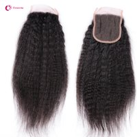 Wholesale Brazilian Yaki Hair 1b - Peruvian Unprocessed Top Lace Closures Hair 4X4 Brazilian Remy Human Hair Kinky Straight Closure Pieces 1B Free Part 130% Afro Yaki Hair