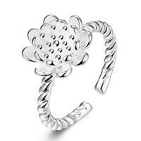 Wholesale Jewerly 925 Set For Women - Elegant Street Style Daisy Open Rings 925 Silver Plated Twist Rope Personalized Flower finger ring Jewerly For Women Girl Gift R775