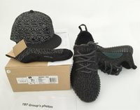 Wholesale Spring Lace Hats - NEW 2016 boost 350 Kanye West shoes Sneakers running Shoes Pirate Black turtle dove (hat +Keychain+Socks+Bag+Receipt+Boxes)
