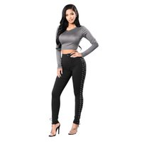 Wholesale Thick Lace Leggings - Womens Casual High Waist Thick Slim Skinny Stretchy Long Pants Lace up Pencil Pants Ladies Black Leggings Jeggings Trousers