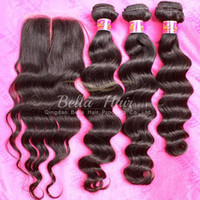 Wholesale Virgin Human Hair Loose Wavy - Virgin Brazilian Hair Bundles with Closure Loose Deep Wave Wavy Human Hair Extensions Dyeable Black Hair Weft with Middle Part Closure