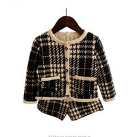 Wholesale Short Wind Coat - Chileren girls suit plaid set children Petty fragrant wind houndstooth coat jacket + shorts pants 2 pcs set
