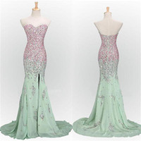 Wholesale Spandex T Shirts Sale - Top Sale Newly Designed Long Mint Mermaid Sweetheart Sparkly Popular Unique Evening Formal Gown Prom Dress 2017