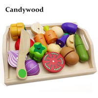 Wholesale Mother Garden Wooden Kitchen - Mother garden Baby Wooden Kitchen Toys Cutting Fruit Vegetables education food toys for kids girl for Preschool Children