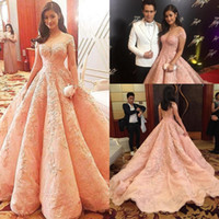 Wholesale Sweetheart Floor Mermaid - 2017 Pink Off Shoulder Prom Dresses Red Carpet Floor Length Ruffles Evening Gowns Long Women Retro Lace Sweep Train Celebrity Party Dresses