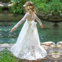 UK long sleeves wedding dress princess - Girls Long Sleeve Lace Wedding Bridesmaid Maxi Dress Princess Hollow- Out Bow Gown Robe Dress Children Formal Evening Party Prom Ball Dress
