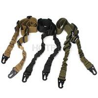 silah kayışları toptan satış-Taktik 2 Nokta Sling Ayarlanabilir Bungee Tüfek Gun Sling Askı Iki Nokta Gun Sling Tüfek Kayış Ordu Airsoft 3 renkler # 4173