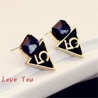 Wholesale Triangle Pattern Fashion - European Brand Number 5 Pattern Earrings Fashion Crystal Square Stud Earrings Korean Geometric Triangle Earrings Women Jewelry Party Costume