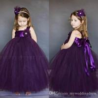Wholesale Cheap Tutus For Little Girls - 2016 Tutu Lace Flower Girls Dresses For Weddings Junior Bridesmaid Kids Purple Grape Backless Long Cheap Toddler Little Girl Pageant Dress