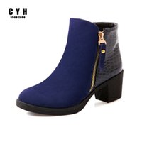 Wholesale Womens Wedge Heel Motorcycle Boots - Flock Nubuck Leather Luxury Brand Womens Winter Ankle Boots Blue Black Ladies Motorcycle Zipper Round Toe Thick Heel Shoes