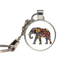 Wholesale Elephant Cabochon - Elephant Indian Keychain Glass Cabochon Religious Gift For Women Key Chains Glass Dome Key Ring Shiva Hindu Jewelry Key Holder