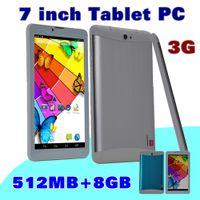 "Wholesale 3g Tablet Dual Core Dhl - 20X 7 DHL inch 7"" 3G Phablet Android 4.4 MTK6572 Dual Core 8GB 512MB Dual SIM GPS Phone Call WIFI Tablet PC Bluetooth B-7PB"