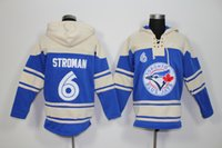 Wholesale Blue Logo Sweater - Toronto Blue Jays Mens Sweaters #6 Marcus Stroman Blue Baseball Jersey Hoodies Stitched Top Quality Embroidery Logo Can Mix Order 2819