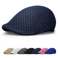 Wholesale Beret Men - New Fashion Unisex Men Women Sun Mesh Beret Cap Newsboy Golf Cabbie Flat Peaked Sport Hat Casquette