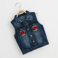 Wholesale Baby Cowboy Vest - Baby Girls Outerwear 2016 New Autumn Fashion Cowboy Vests length jacket Owl Cartoon Applique Coat for Children Sleeveless Vests