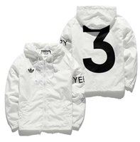 Wholesale polyester sport jackets for men - white kanye west jacket for men windbreaker hip hop sport jackets streetwear 3 print jacket coat drop shipping