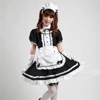 siyah tül elbisesi kızları toptan satış-Toptan-Japonya Sıcak Anime Akihabara Cosplay hizmetçi Kostüm Sevimli Kız Koyu Siyah Lolita Elbise etek lolita okul tül seksi cosplay S-XXXL