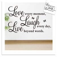 Wholesale Wall Sayings For Home - Love every moment Laugh every day Live beyond wors Wall Sticekrs Saying Quotables Wall Decals Wallpaler Art Home Decor WS299