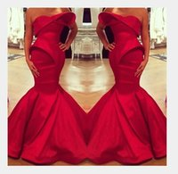 Wholesale Satin Dressing Gowns Women China - Made In China Mermaid Red Dresses Evening Party Gown Strapless Ruched Arabic Muslim Full Length Women Formal Prom Gown Pageant Wear