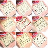 Wholesale Love Heart Nail Tips - Wholesale- 2016 1Sheet Silver 3D Love Heart Design Tips Nail Art Watermark Nails Stickers Decals DIY Nail Decorations DTL49-60