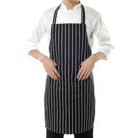 Wholesale Chef Waist Aprons - Restaurant Black Stripe Bib Apron with 2 Pockets Chef Waiter Kitchen Cook