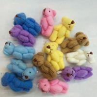 Wholesale New Toys Bulk - bulk Mini Soft Traditional Teddy Bear 3.5cm Party Bags Gift Wedding Favor Baby Shower 7color 100pcs