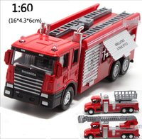 Wholesale Toys Model Fire Car - 3 Style Fire Alloy Car Models Back Power Car Alloy Toy Music Car Kit Toy Manufacturers Batch 1:60