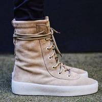 Wholesale Leather Riding Boots Men - Military Crepe Boots Men Women Fashion Platform Shoe Flat Motorcycle Boots Suede Leather Kanye west Boots Lace Up Riding Botas