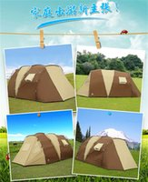 Wholesale Two Person Canvas Tent - Two Rooms One Hall Tent Camping Shelters Waterproof Sunny Double-deck Protective Summer Outdoors Tents For Family Meal Fast Shipping