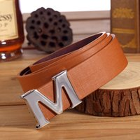 Wholesale Leather Style Jeans Men - 2016 New Arrival Korea style high quality luxury mens belts Leather smooth Buckle Casual Jeans straps designer M belt classic women belt